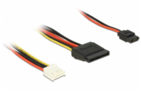Delock Cable Power Floppy 4 pin power receptacle > SATA 15 pin receptacle (5 V + 12 V) + Slim SATA 6 pin receptacle (5 V