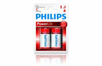 Philips baterie C PowerLife, alkalická - 2ks