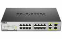 D-Link 16-Ports 10/100 PoE Switch (total 246.4 Watt), 2 X 1000Base-T/SFP