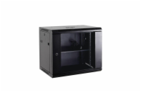 Netrack wall/hanging cabinet 19'',12U/600 mm,glass door,black,remov. side pan.