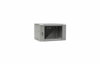 Netrack wall/hanging cabinet 19'',6U/450 mm,glass door,grey,remov. side pan.