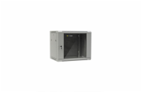 Netrack wall/hanging cabinet 19'',9U/450 mm,glass door,grey,remov. side pan.