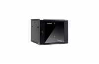 Netrack wall/hanging cabinet 19'',9U/600 mm,glass door,black,remov. side pan.