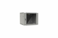 Netrack wall/hanging cabinet 19'',9U/600 mm,glass door,grey,remov. side pan.