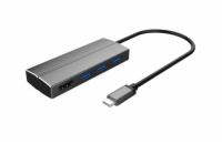 PremiumCord Adaptér USB 3.1 Type-C male na HDMI female + 3x USB 3.0, aluminum