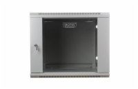 DIGITUS Wall Mount Cabinet 19'' 9U 501/600/450mm, glass door, grey, unmounted